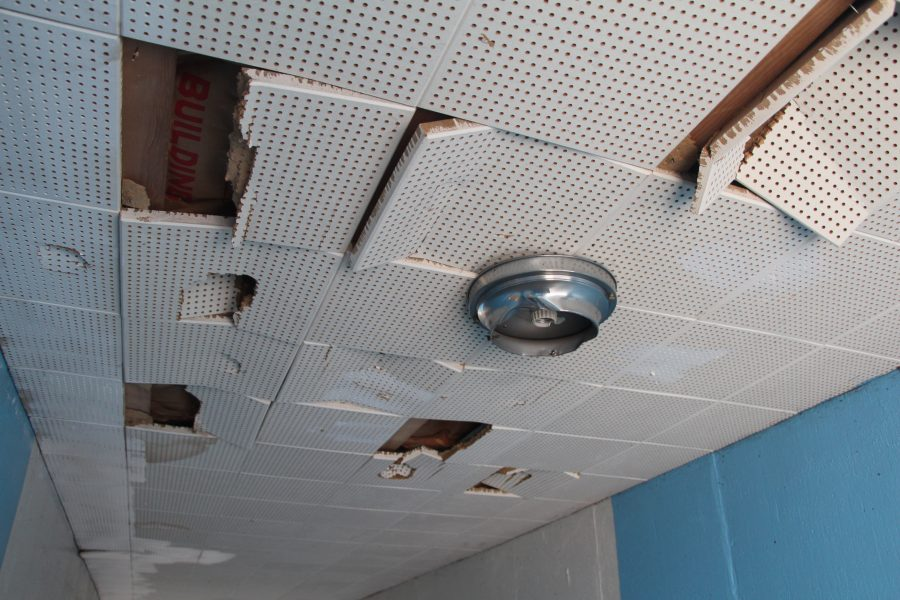 Part+of+the+school%E2%80%99s+ceiling+is+beginning+to+fall+down+and+is+in+dire+need+of+repair.