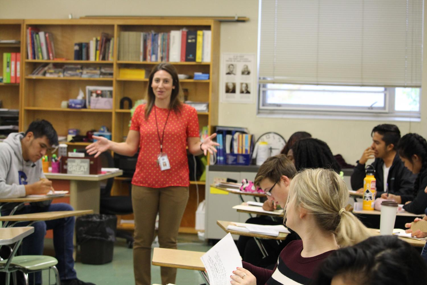 New history teacher Amanda Williams, delivering a lecture in her IB History class