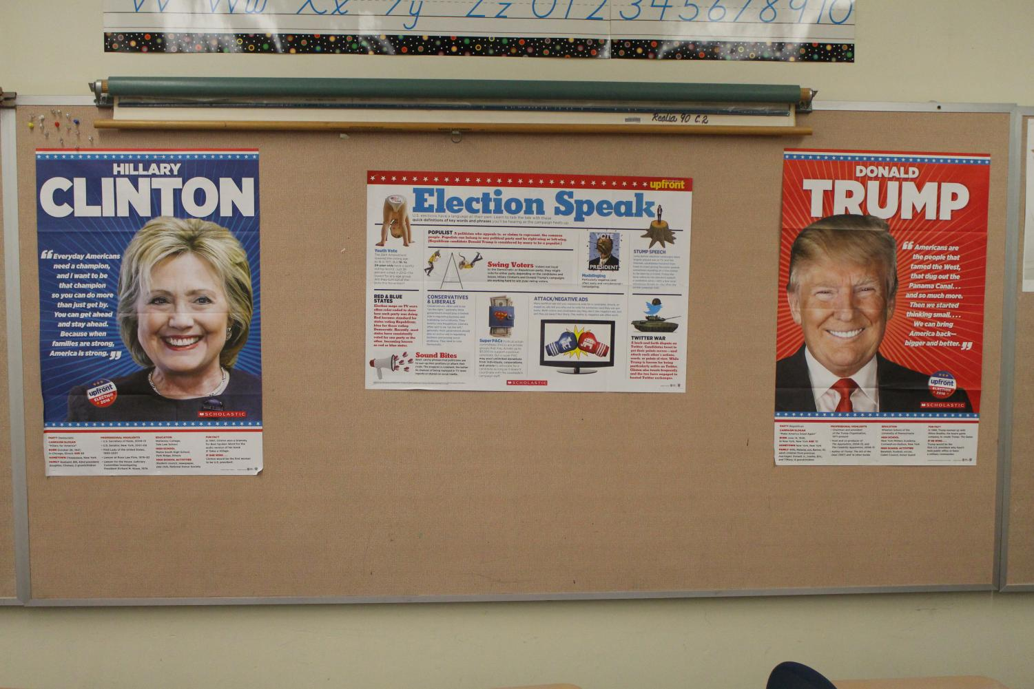 A display that was up in Lehr's room during the 2016 election.  CREDIT: KENDYL