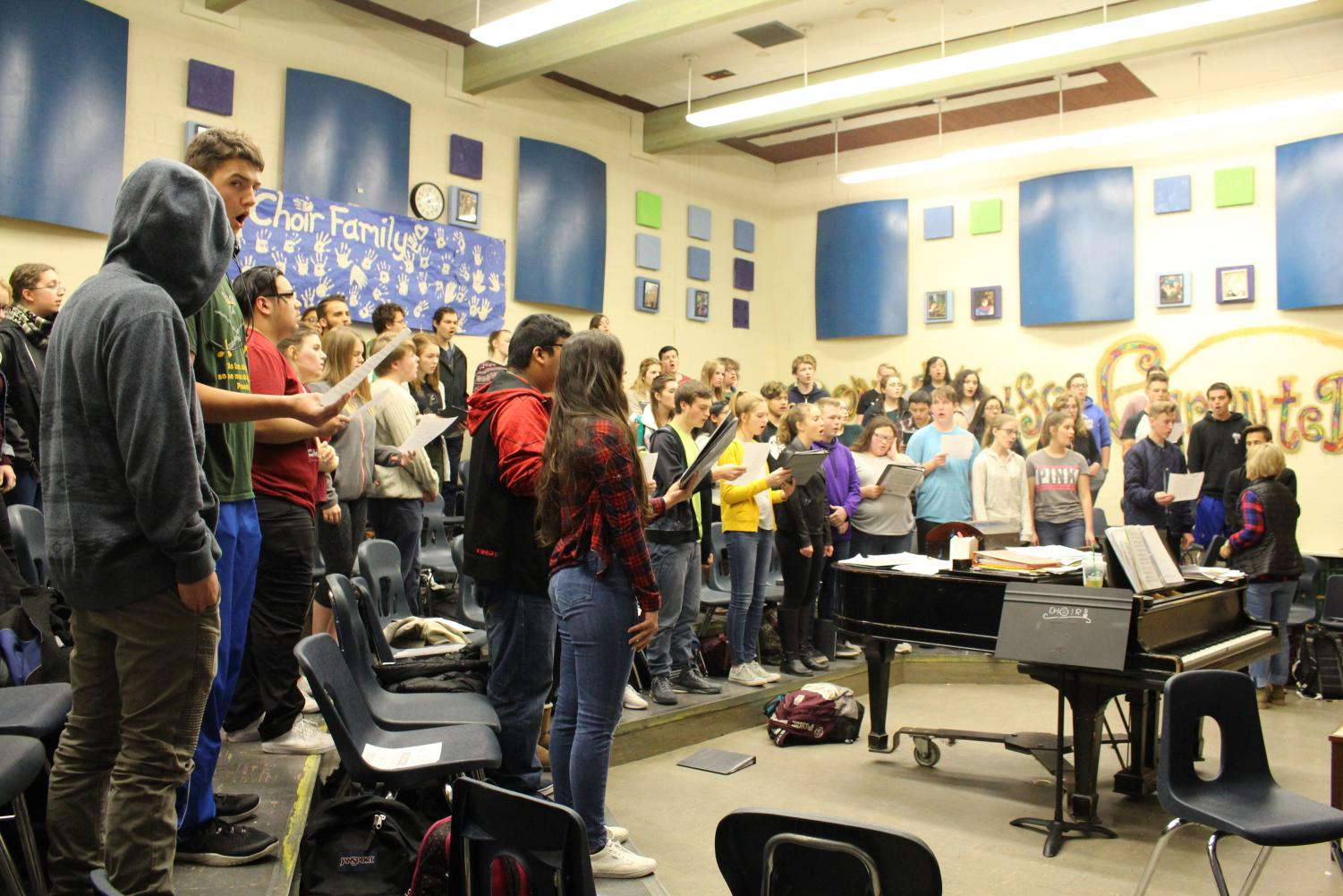 Choir students practicing during class