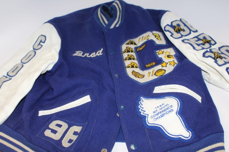 Graphic Design teacher Brad Cook's varsity letterman jacket from 1996.