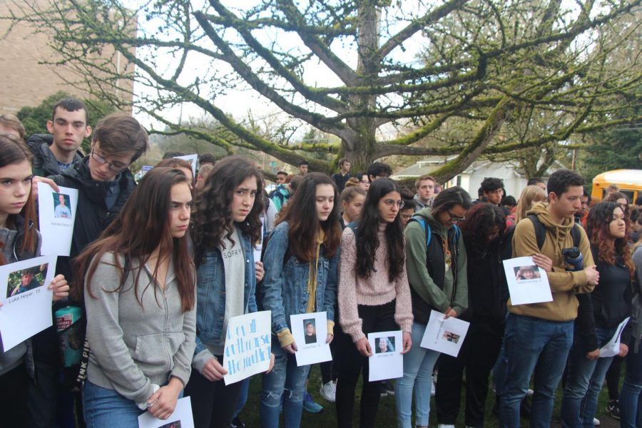 Gathered students keep their vigil solemnly, honoring the lost students, and hoping for gun reforms.