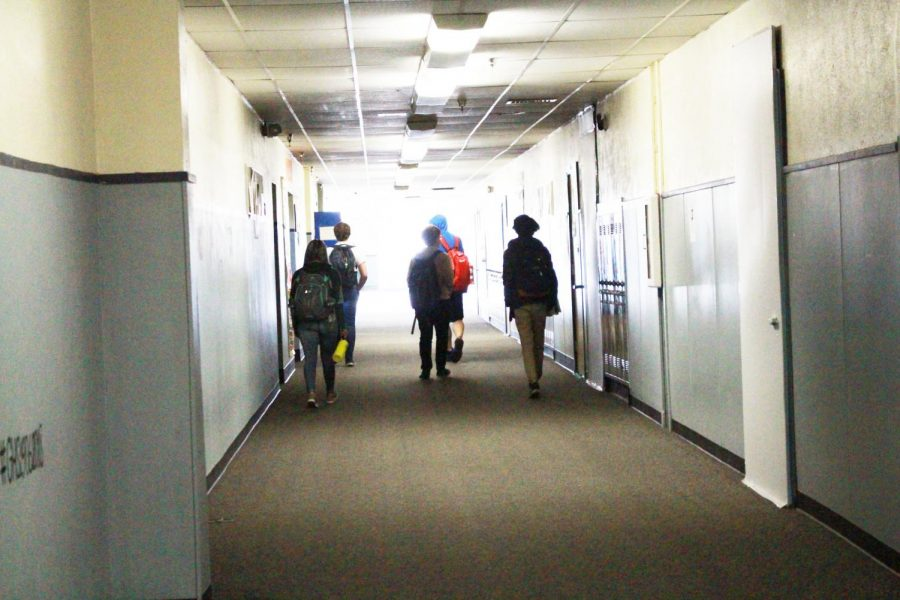 Tardy students walking to class.