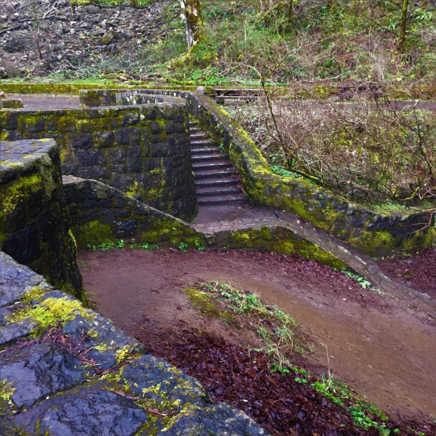 The first thing you see when you pull up to the falls are these stairs that lead directly to the waterfall and river area. Be careful these stairs are often slippery and should be used with caution. The stairs themselves are made of mossy stone and are a beautiful addition to the falls.