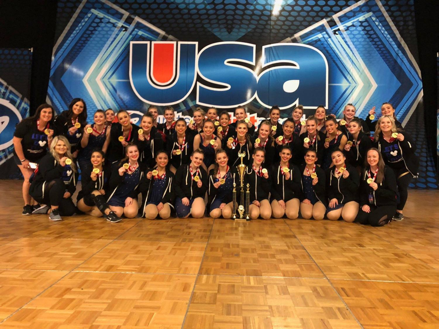 Dance team and coaches at nationals