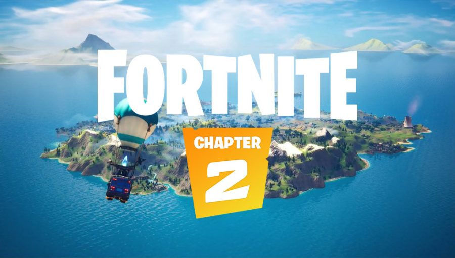 New and improved map for chapter two of Fortnite displaying updated features and graphics.