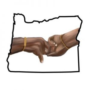 Youth Oregon's social media logo, which shows two hands holding each other in Oregon, highlights the organization's message of providing community for BIPOC students in Oregon.